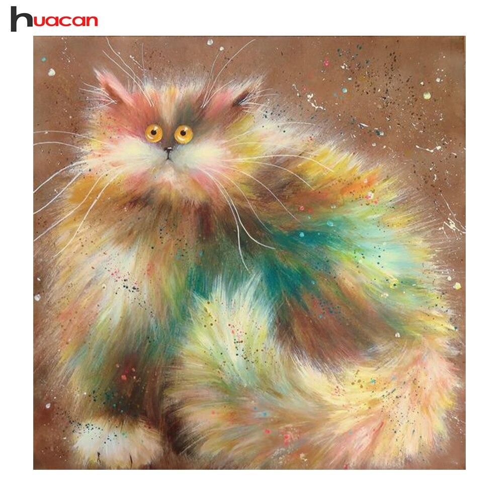 ₪Diy diamante bordado gato 5d patrones animales Rhinestone mosaico ...