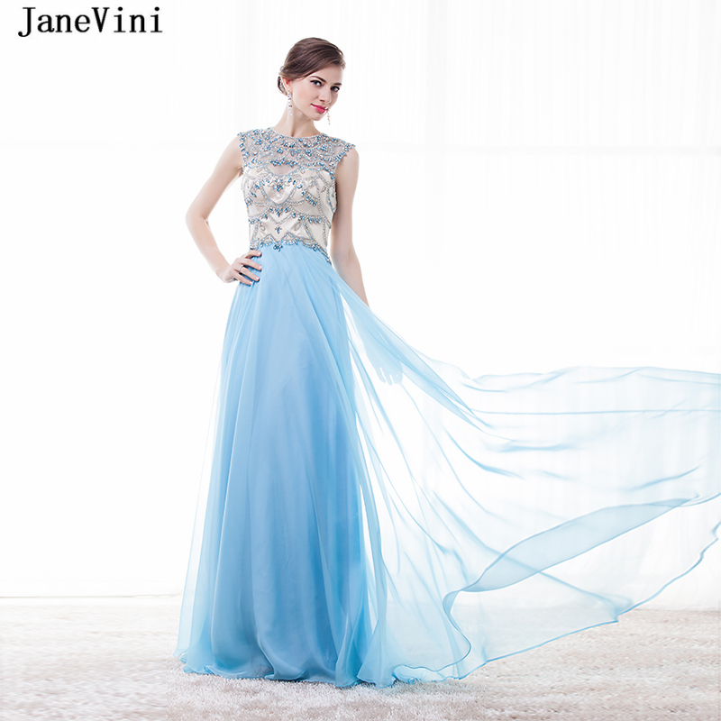 JaneVini Charming Light Sky Blue A Line   Bridesmaid     Dresses   Luxury Beaded Crystal Backless Floor Length Chiffon Formal Prom Gowns