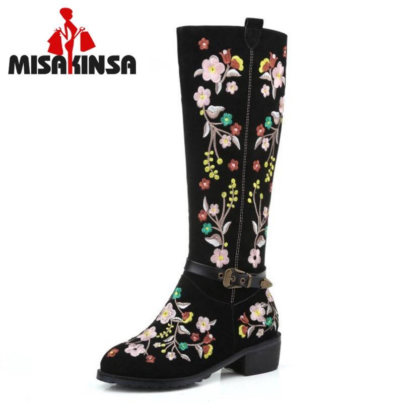 MISAKINSA taille 33-46 femmes en cuir véritable bottes à talons hauts broderie Zipper demi botte courte chaud fourrure chaussure hiver femme chaussures