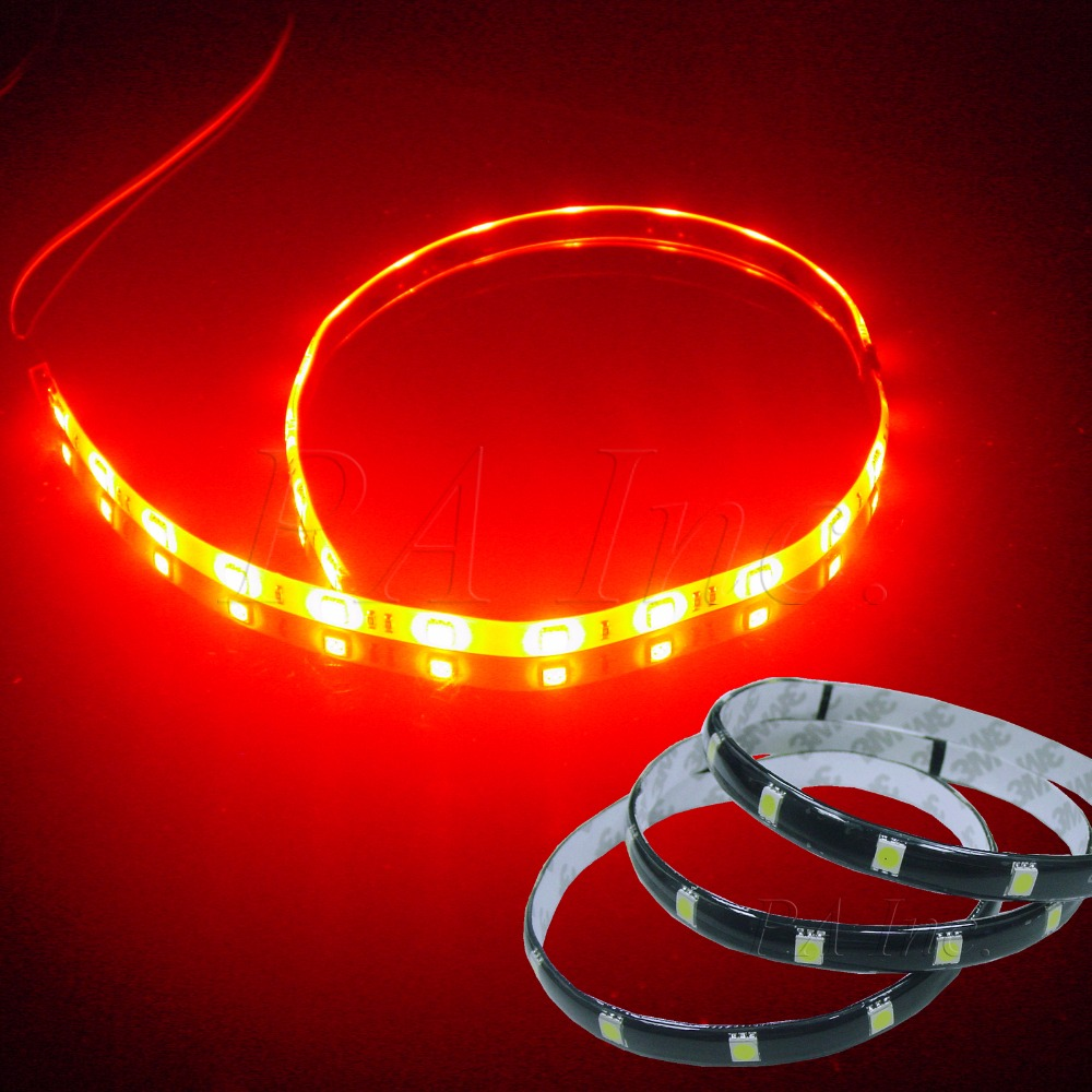 Pa Led 2pcs X Flexible 12smd Led 5050 Smd Interior Exterior Lights Stripe 30cm Red Waterproof