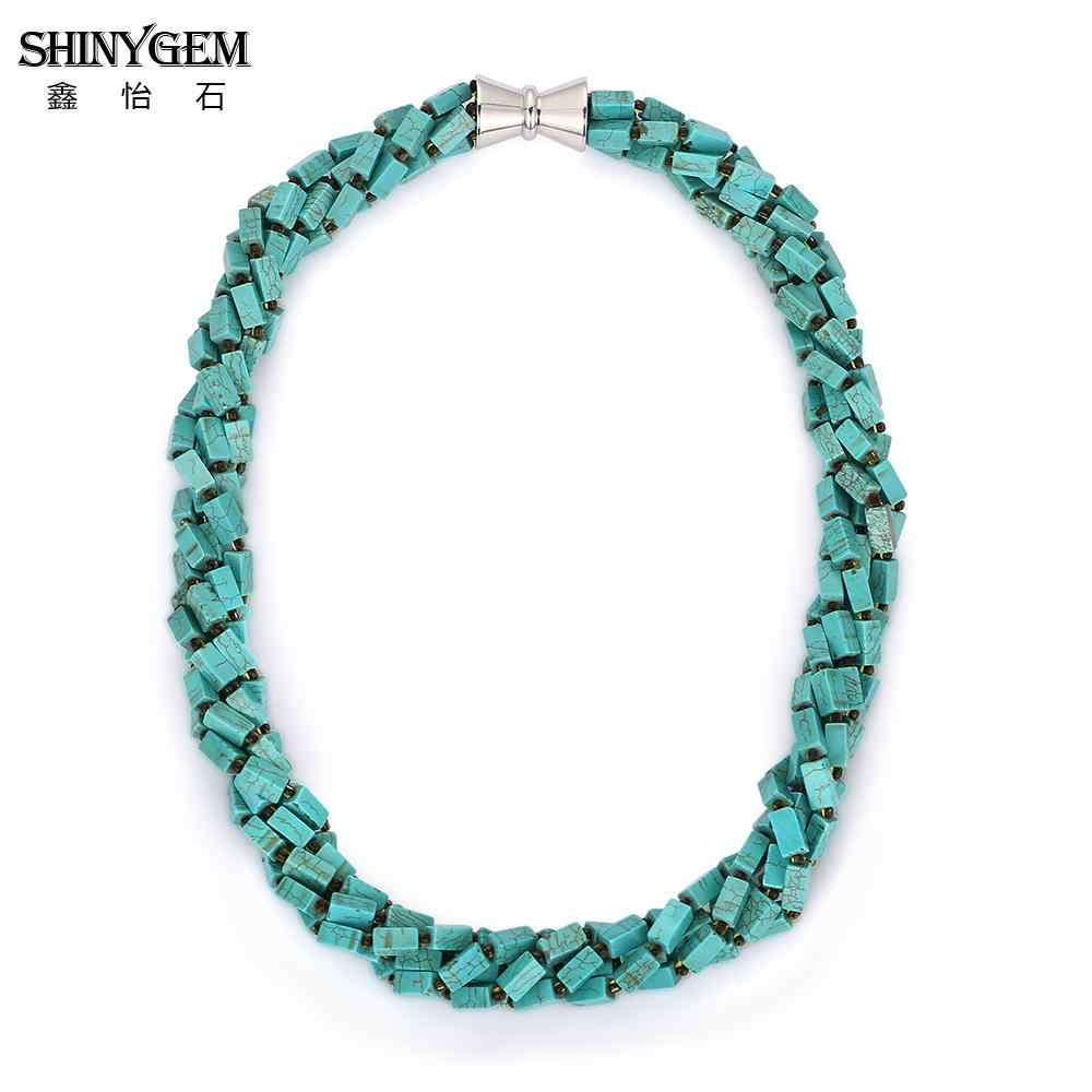 ShinyGem สีเขียว Turquoises Choker สร้อยคอสำหรับสตรีแม่เหล็ก 4 * * * * * * * 8 มม. หินธรรมชาติอินเทรนด์สร้อยคอสร้อยคอสำหรับ party