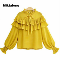 Mikialong 2017 3xl 4xl 5xl Plus Size Ruffle Blouse Women Autumn Winter Long Lantern Sleeve Shirts
