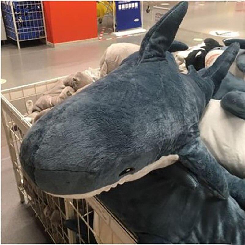 Vente chaude beau 140cm gros requin jouets en peluche les grandes poupées de requin blanc tenir oreiller cadeau d'anniversaire