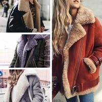 Hot Sale 2018 New Atumn Winter Motorcycle Suede Lamb Fur Coat Women Turn down Collar Warm Fur Parka Female Thicken Winter Jacket