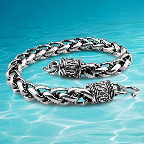 963f8bdf0a Free shipping fashion retro men Shitai silver bracelet Korean male ...