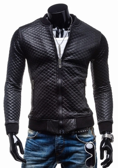 Hot Sale Men's Slim Fit quilted thick collar leather jacket   men's brand  casual fashion leather motorcycle jackets coat