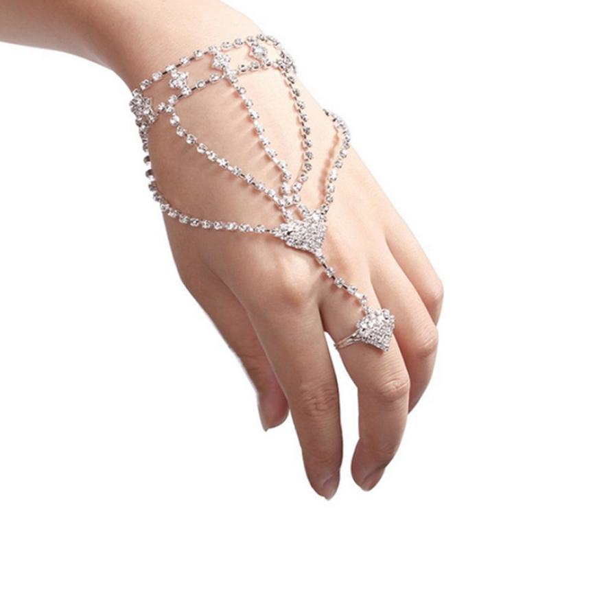 Rhinestone Bangle Slave Chain Link Interweave Finger Rings Hand Harness Bracelets Gold Pulseiras #0912