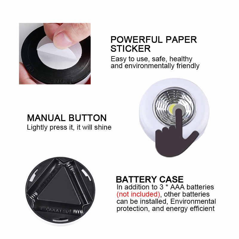 Foxanon Novedad LED iluminación de pared luces de noche COB LED Stick Sticker toque armario pasillo armario 3x pilas AAA