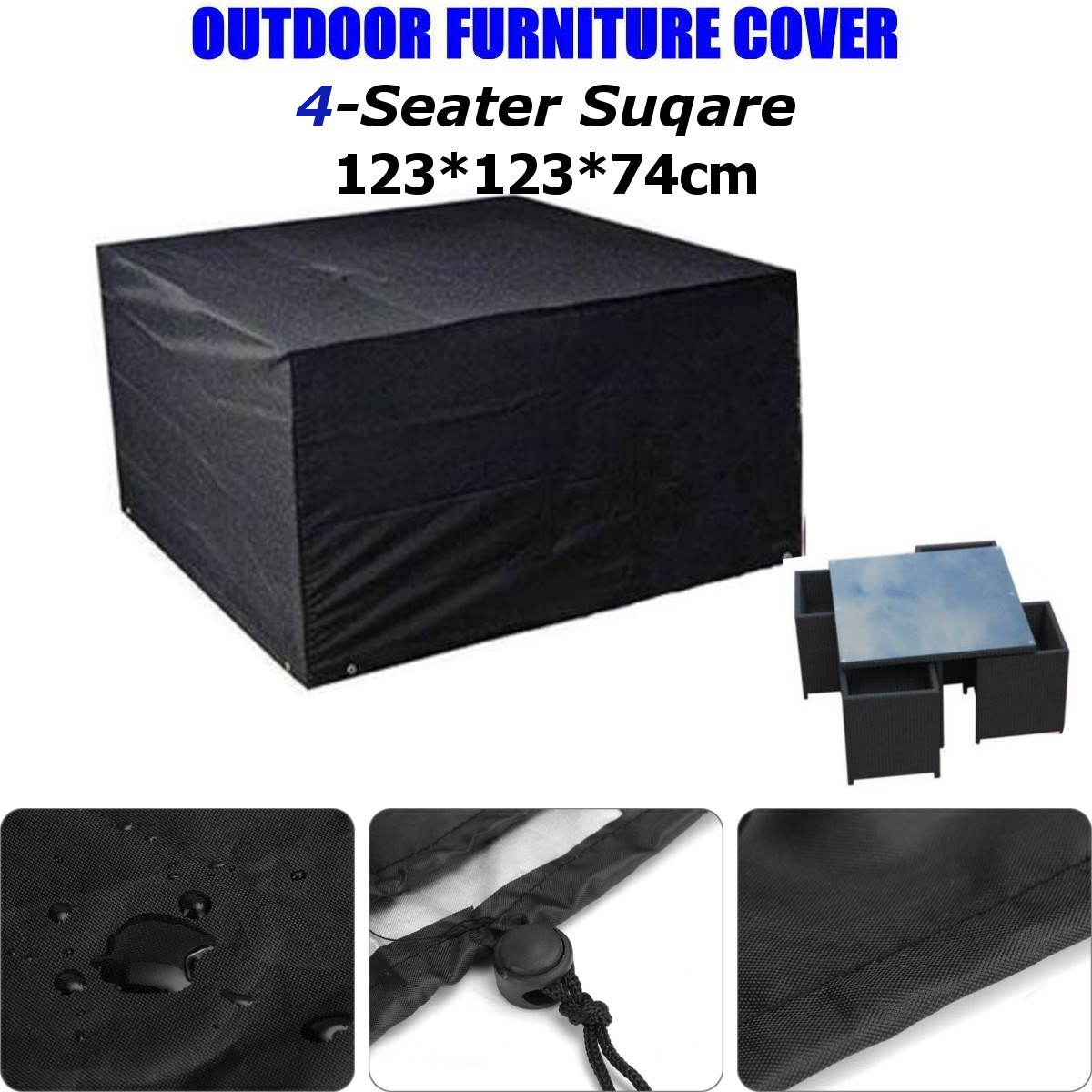 Black 4 Seater Waterproof Outdoor Table Chair Patio Garden Furniture Rain Cover Polyester Furnishing Table Cloth Garden Supplies