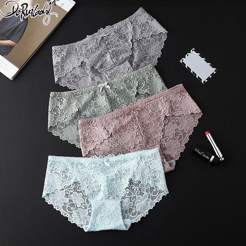 Deruilady Elegant Lace Panties Women Super Soft Breathable Briefs Low Rise Floral Hollow Out Quality Women Panties Sexy Lingerie ...