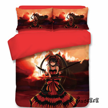Mxdfafa Anime DATE A LIVE printed Comforter Bed Sets Duvet Cover Set 3 pcs set Include 1 and 2 dakimakura cover