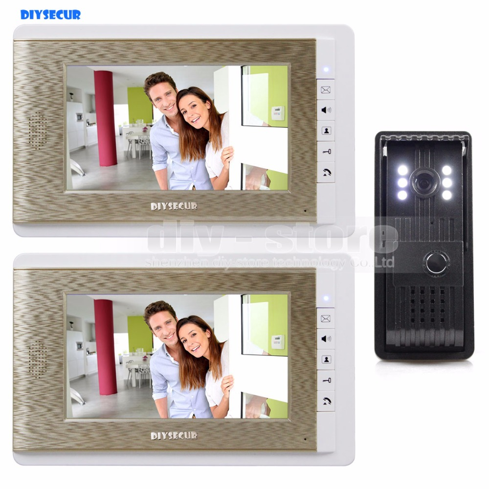 DIYSECUR Video Door Phone Doorbell 7 inch TFT LCD Video Intercom LED Night Vision Door Camera Of Home Entry Intercom Kit hot sale tft monitor lcd color 7 inch video door phone doorbell home security door intercom with night vision