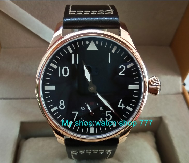 44mm PARNIS ST3621/6498 Mechanical Hand Wind movement Mechanical watches black dial Plated rose gold case men