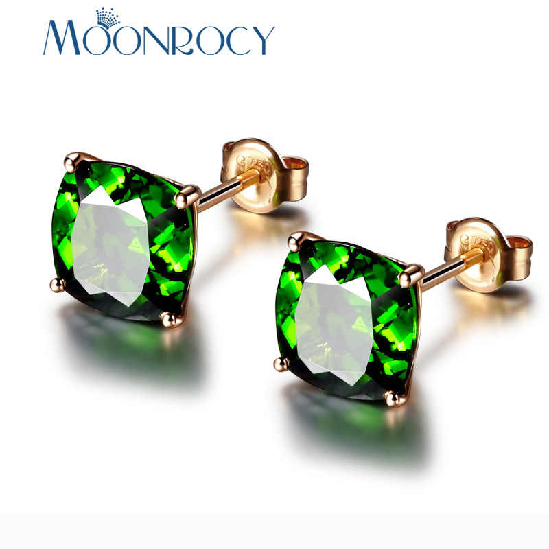MOONROCY Rose Gold Color Cubic Zirconia CZ Square Green Crystal Earrings Stud For Women Girls Gift Drop Shipping Jewelry New