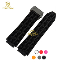 Homens pulseira de silicone pulseira de borracha interface Convexo Wide 25mm faixa de relógio de Pulso relógios de pulso cinta com fivela