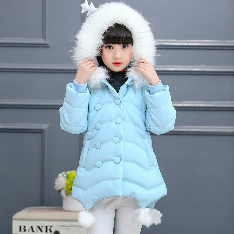 2018 Fur Hooded Solid Solid Baby Fashion Teenage Winter Jacket for Girls Cotton Down Parka Girls Winter Thick Warm Kids Coat new women winter down cotton long style jacket fashion solid color hooded fur collar thick plus size casual slim coat okxgnz 910