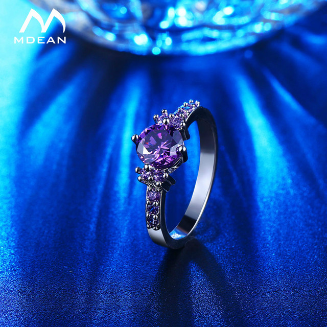 MDEAN White Gold Color Rings For Women Purple AAA Zircon Jewelry Engagement Wedding Size 5 6 7 8 9 10 11 12 MSR199 3