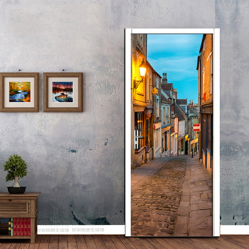 Italian Town Street Landscape European Style Living Room Bedroom Mural Wall Door Stickers PVC Waterproof 3D Wall Paper Fresco