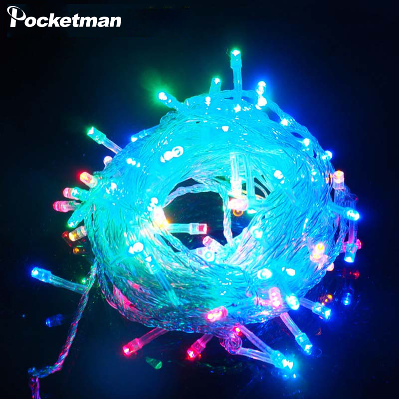 цена 10M RGB LED String Light Christmas Lights Indoor Outdoor Xmas Tree Decoration 100 LEDs Waterproof Holiday Garland Fairy Lights