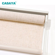 CASAYA Breathable Linen Fabric Roller Blinds Cordless Spring Roller Shades Window Shades Customized Size