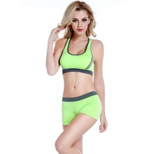 Women's Bra Set Fitness Workout Seamless Padded Breathable Bra Underwear Shorts Set