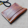Pure Handmade Vegetable Tanned Leather Wallet Men Vintage Breif Mini Wallet Coin Men Leather Genuine Handmade Leather Wallet