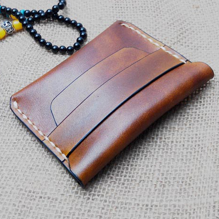 Pure Handmade Vegetable Tanned Leather Wallet Men Vintage  Mini Wallet Coin Men Leather Genuine Handmade Leather Wallet