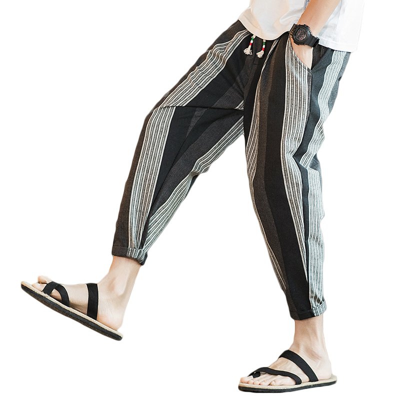 2018 New Arrival Striped Men Pants Cotton Linen Casual Pants Man Ankle Length Summer Mal ...