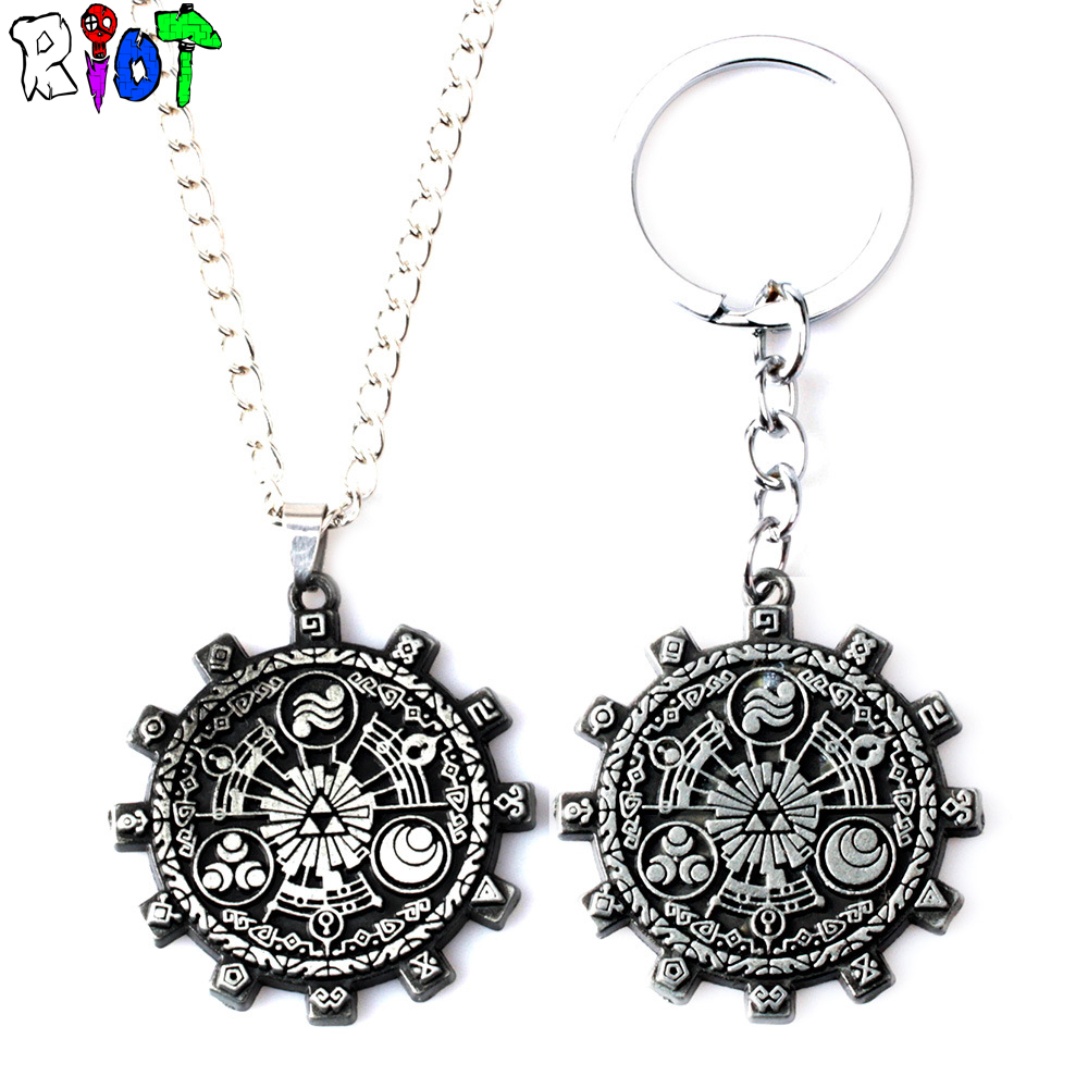 The Legend of Zelda Triforce Alloy Necklace ZELDA Vintage Pendant Gear Shape Keychain Fans Gift Woman Jewelry Charms Souvenirs