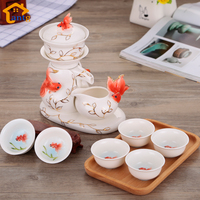 Porcelain Enamel Chinese style Tea Set Coffee Teasets Automatic Kung Fu Ceramic tea set tea cup Hand painted Colored drawing