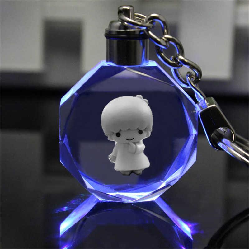 Petite étoile jumelle mélodie Anime LED porte-clés LOGO Figure porte-clés cristal jouet porte-clés lumière porte-clés unisexe cadeau de noël nouveau
