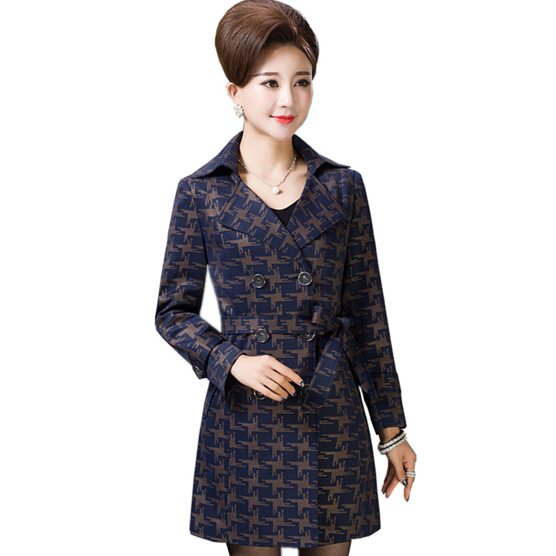 Double Taille Tranchée Boutonnage Femmes 2018 Plus Coupe Impression photo Color D'âge Manteau 5xl À Moyen Color vent Mode Féminin Printemps Longue Photo qXwFnXvB