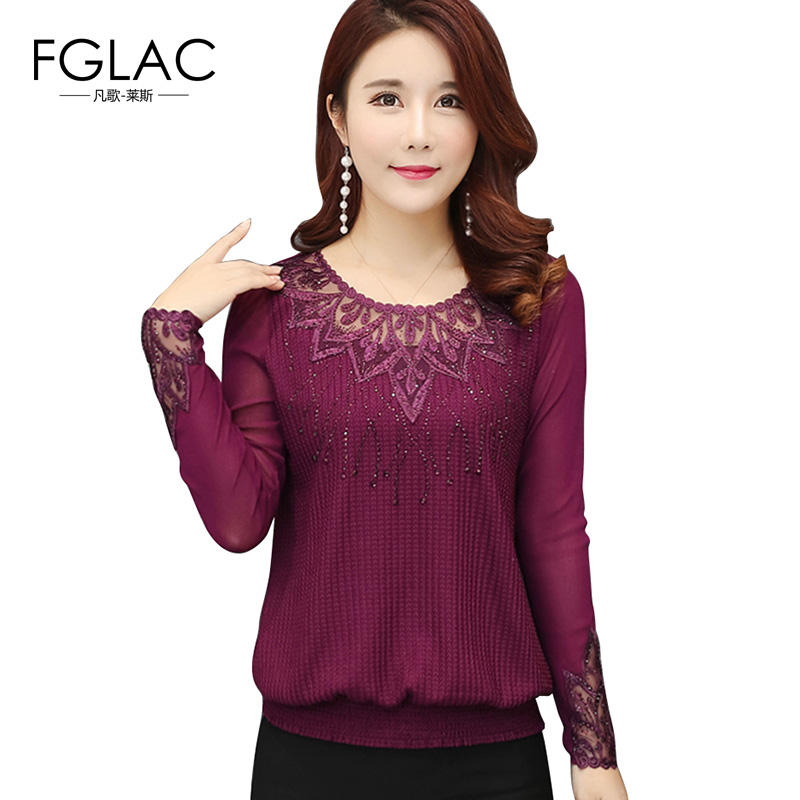 FGLAC Women   blouse     shirt   New Arrivals 2018 Spring long sleeved knitted   shirt   Elegant loose women tops plus size women clothing