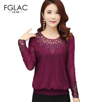 FGLAC Women Blouse Shirt New Arrivals 2018 Spring Long Sleeved Knitted Shirt Elegant Loose Women Tops