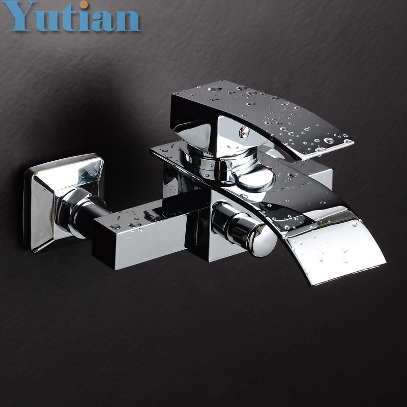 Free shipping Polished Chrome Finish New Wall Mounted Waterfall Bathroom Bathtub Handheld Shower Tap Mixer Faucet  YT-5320 polished chrome double cross handles wall mounted bathroom clawfoot bathtub tub faucet mixer tap w hand shower atf902