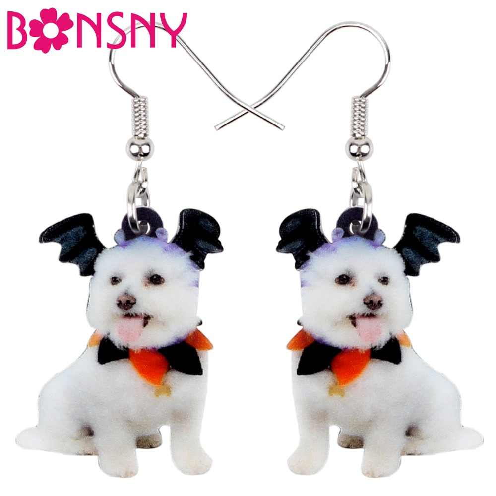 Bonsny Acrylic Halloween Happy Bat Wing Tiny Dog Earrings Dangle Drop Cute Animal Jewelry For Women Girls Pet Lovers Accessories