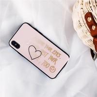 Mooie Leuke Liefhebbers Mobiele Telefoon Gevallen Voor iPhone6 6 S 6 Plus Bronzing Bloem Woorden Print Gehard Glas Beschermende Shell terug Zakken