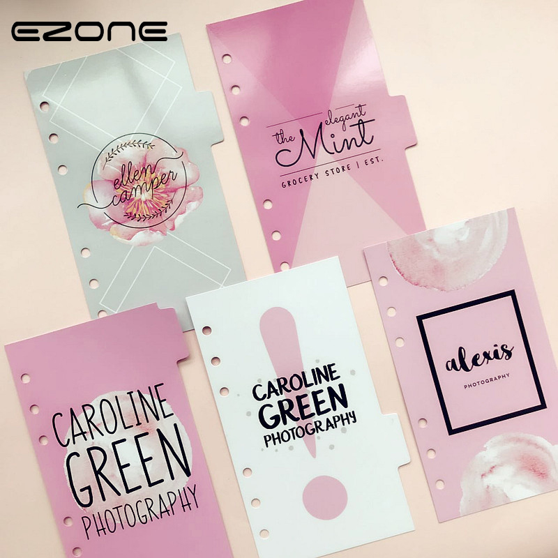 EZONE 5 Sheets Simple Style A6 6 Holes Notebook's Index Page Paper Separator Page Loose-le