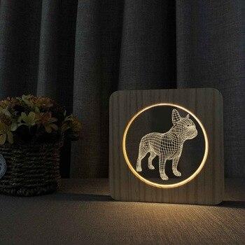 Деревянный Французский бульдог 3D LED ночник 7 видов цветов USB голограмма лампа настольная лампа Декор для малышей игрушки для друзей подарки ...