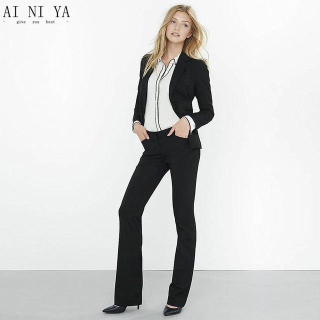 New Black 2 piece set women pant suits for weddings female ...