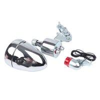 Pro 6W 12V Motorized Bike Friction Generator Dynamo Headlight Tail Light Kit Set
