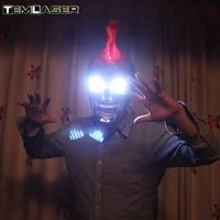 Бесплатная доставка Ghost Rider Череп Маска/Хэллоуина маски/светодиодный Очки для шоу, вечерние Маски рыжие волосы белый глаз Новинка освещение