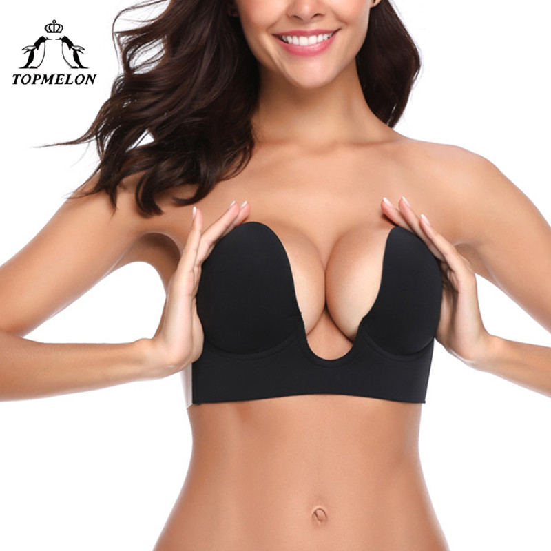 TOPMELON Adhesive Bra Plus Size Bralette Push Up Bra Sexy Strapless Bras for Women One Piece Invisible Seamless Brassiere Bralet
