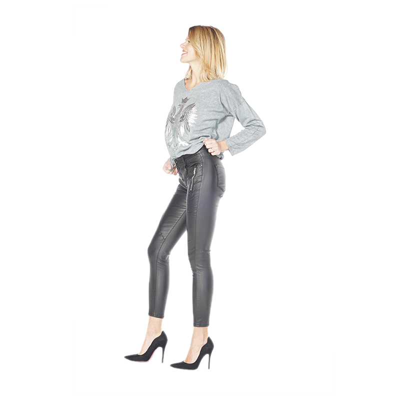 My Will Jeans Ladies Black Cropped Trousers Jeans 6782 Made In China