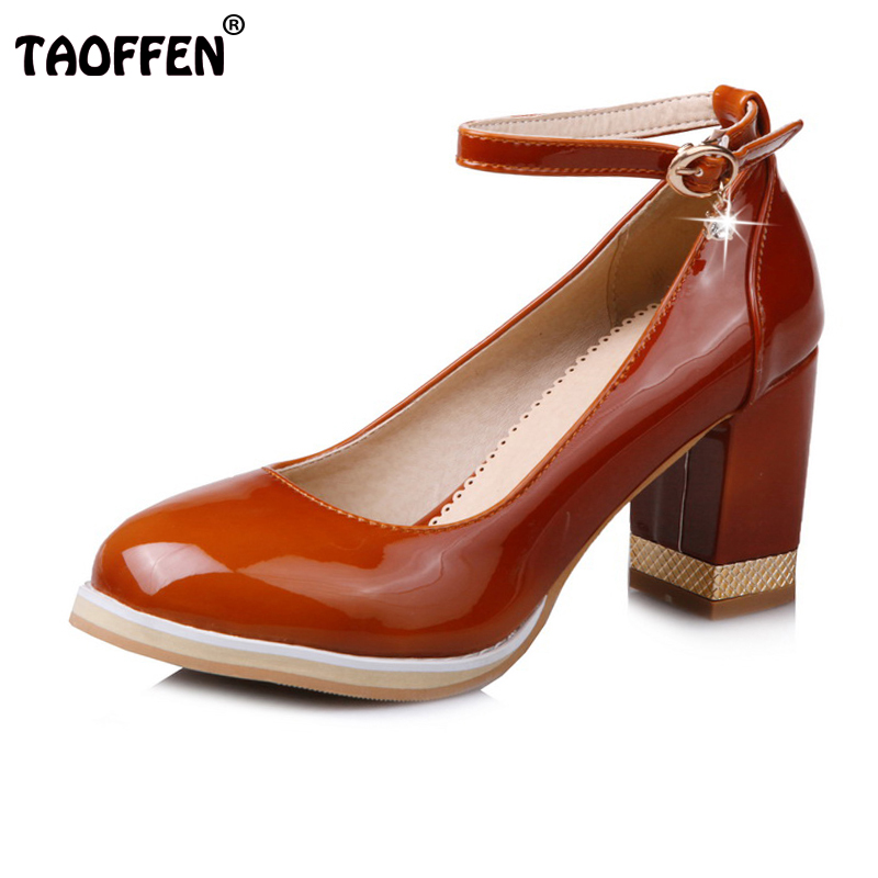 TAOFFEN Plus Size 31-48 Ladies Thick High Heels Ankle Strap Shoes Women Round Toe Square Heels Shoes Women Spring Party Footwear ladies comfortable women office shoes sandals square heels spring 2017 real leather round toe solid high heels big size 40 41 42