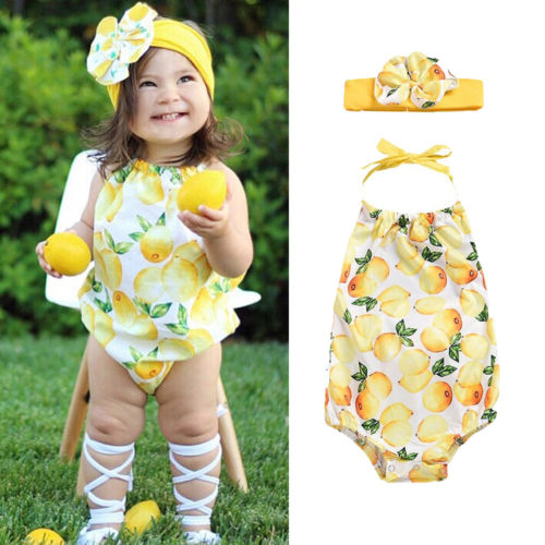 Halter Style Lovely Children Girls   Rompers   Lemon Printed Cool Summer Street Wear + Headband Jumpsuit Outfit Clothes