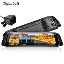 """Fluxo de mídia gravador de carro 10 """"carro dvr câmera espelho retrovisor fhd 1080p 170 graus de grande angular traço cam registrador"""