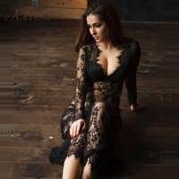 ArtSu Frauen Schwarz Spitze Kleid Boden-Länge Weiß Sehen Durch Kleid Einstellen Taille Sexy Neue Aushöhlen Vestido Maxi plus Größe DR5046