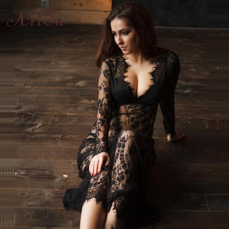 ArtSu Women Black Lace Dress Floor Length White See