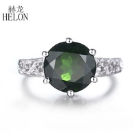 HELON Solid 14k White Gold 7.13ct Chrome Diopside Engagement Ring Filigree Antique Wedding Ring Women Women Party Gift Jewelry